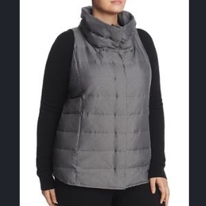 Eileen Fisher Funnel Neck Gray Down Puffer Vest